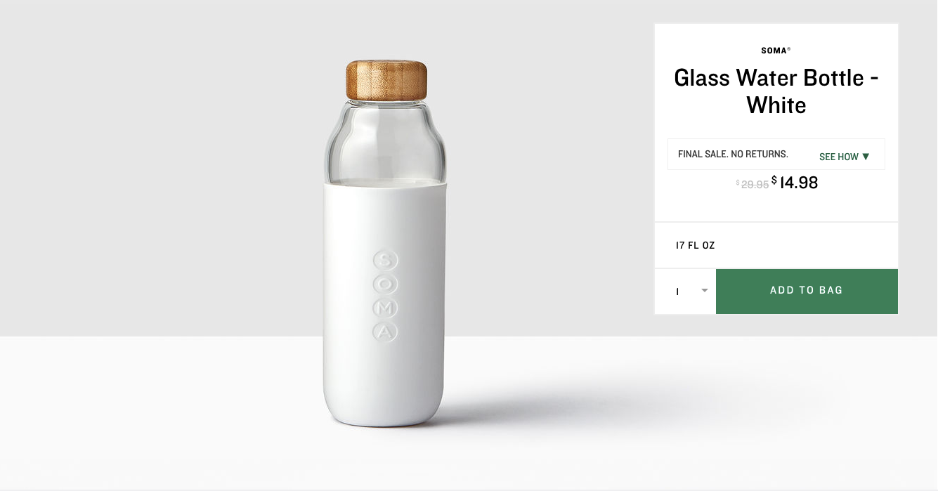 Soma Glass Water Bottle - White. $14.98 (previously $29.95). Buy at store.starbucks.com/sale. The online store is closing October 1, 2017 - you have until then to snap up these deals! (Image: Starbucks)