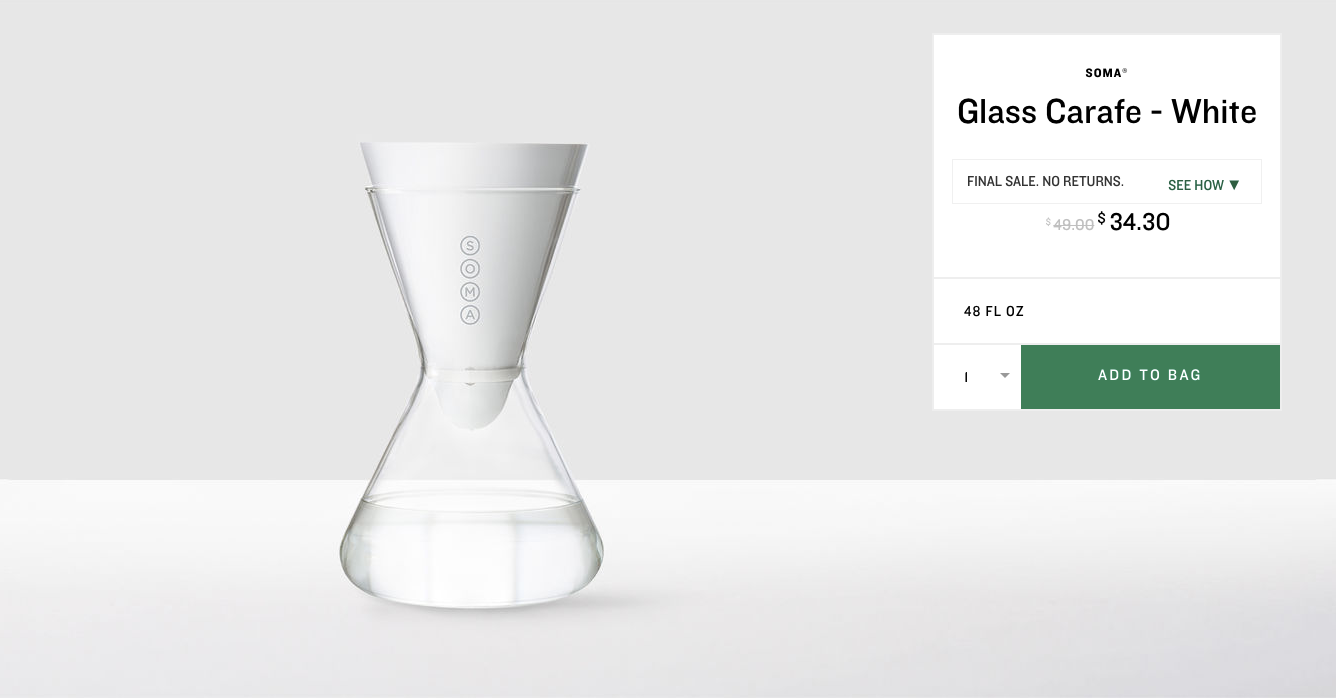 Soma Glass Carafe - White. $34.30 (previously $49). Buy at store.starbucks.com/sale. The online store is closing October 1, 2017 - you have until then to snap up these deals! (Image: Starbucks)