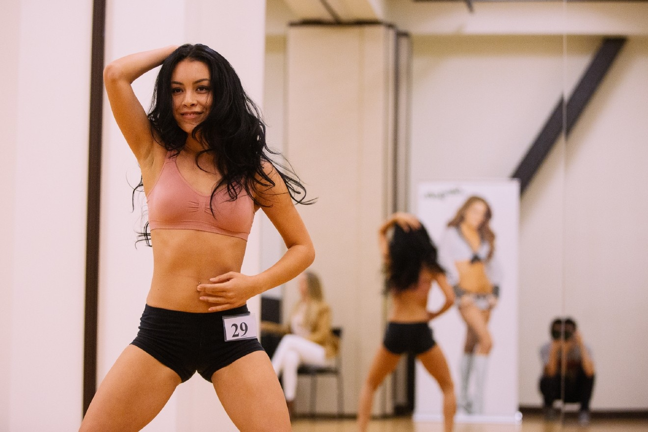 Over a 100 women came out to the Seahawks facility to try out for the 2016 Sea Gals Squad. Participants performed a 60 second freestyle routine to  advance to the second round where they will perform a choreographed routine. Whoever advances from the second round will join any returning Sea Gals from last years squad in the finals that will be live streamed on www.Seahawks.com on Sunday April 24th. April 17th 2016. (Image: Joshua Lewis / Seattle Refined)